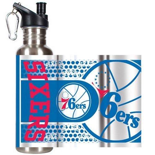 Great American Products NBA Philadelphia 76ers Steel Water Bottle with Metallic Graphics, 26 oz, Silver by Great American Products