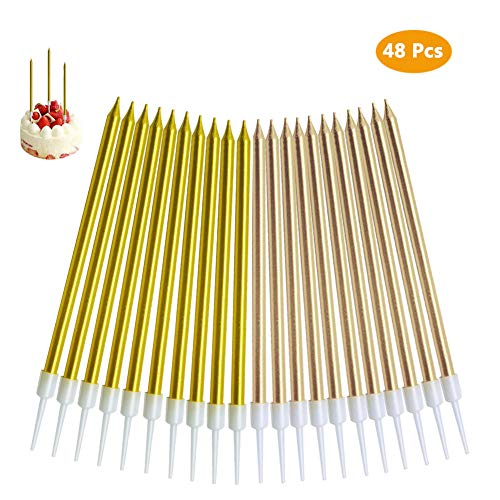 (TOPHOUSE 30pcs Party Long Thin Cake Candles Metallic Birthday Candles in Holders for Birthday Cakes Decorations (Gold and Champagne Gold))