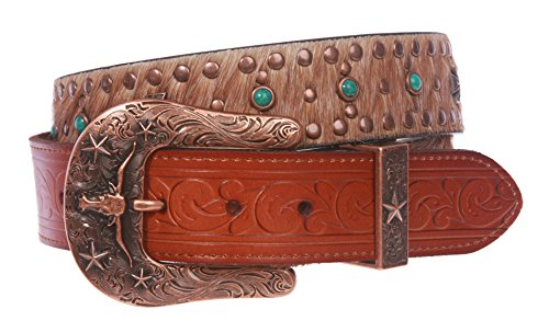 Western Cowgirl Snap On Cross Turquoise Studded Leather Belt With Animal Fur Size: 34 Color: Tan (Ornaments Rhinestone Cross Western)