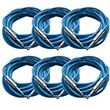 """SEISMIC AUDIO - SATRX-25Blue6 - Pack of Six (6) 25 Foot Blue 1/4"""" TRS Patch Cable - Balanced Cord - Effects"""