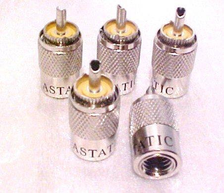 5 Astatic Pl259 UHF Cb Ham Radio Coax Cable Connector Rg8u Rg213 Wire Lug