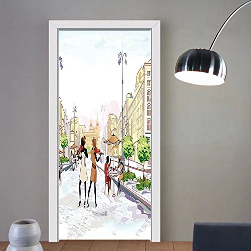 Gzhihine custom made 3d door stickers Modern Old Town with Street Musician Women Playing Violin Streets European Groovy Graphic Multicolor For Room Decor 30x79 by Gzhihine