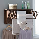 Brown Wall Mount Clothing Drying Rack Clothes Hanger Laundry Room Air Dry Choose Small or Large (Large)