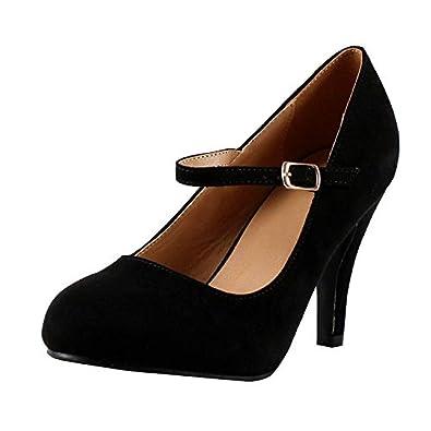 3b98715d7d5b Womens Mary Jane Pumps Block High Heel Platform Ankle Strap Closed Toe Work  Shoes