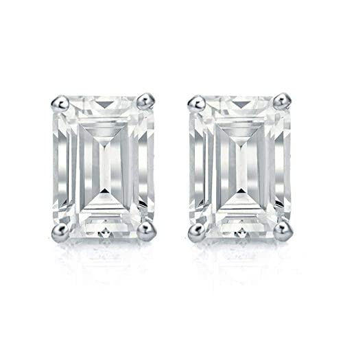 df9c78c47 White Gold Diamond Solitaire Emerald Cut 1.00 ct CZ Stud Earrings 14K(585)  Hallmarked Screw Back, Color D, Clarity VVS: Amazon.ca: Handmade