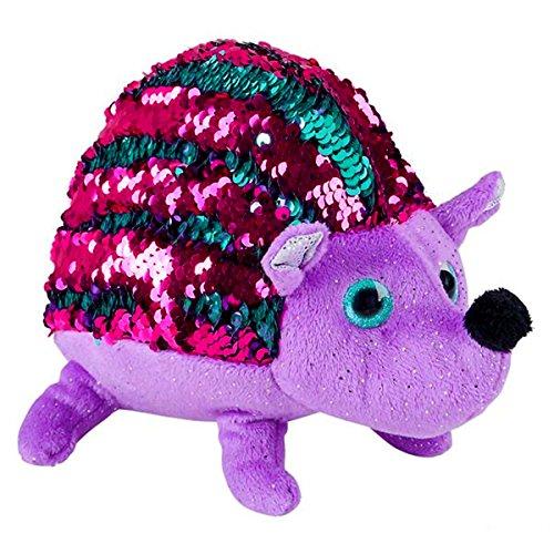 Sequinimals Sequin Hedgehog Plush Stuffed Animal Toy, Purple Pink Turquoise