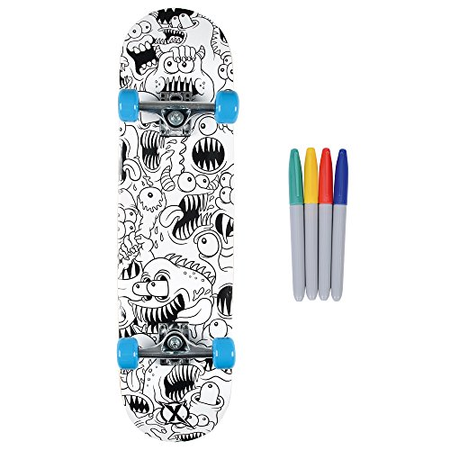 Xootz Kids Colour in Complete Beginners Double Kick Trick Skateboard, Maple...