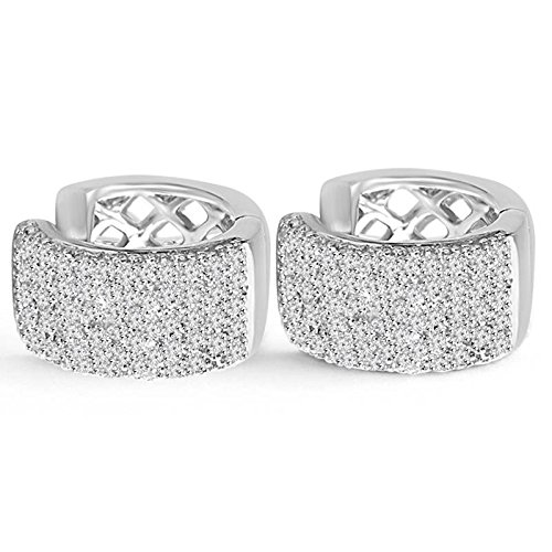 9/10 CTW Round Diamond Hoop Earrings in 14K White Gold (MDR140074) hAWa7R