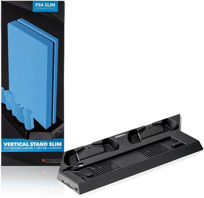 Indeca - Stand refrigerador con ventilador para Playstation 4 Slim (PS4), con cargador doble para mandos y doble ...