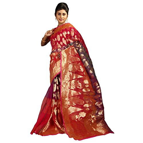 Hawai Women's Banarasi Georgette Bridal Zari Work Saree Free Size Multi - Banarasi Georgette