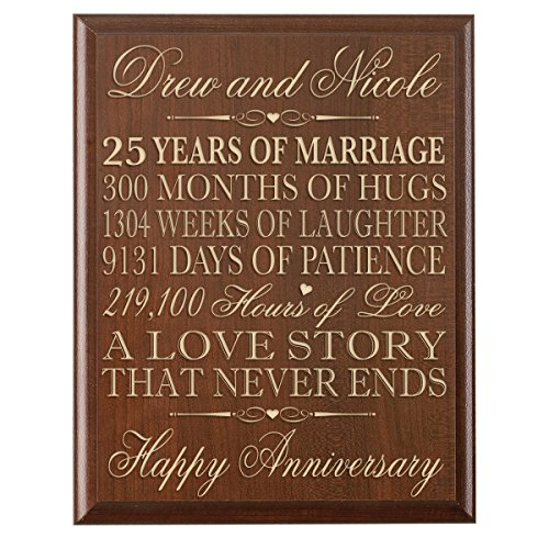 Personalized 25th Wedding Anniversary Wall Plaque Gifts for Couple,Custom Made 25th Anniversary Gifts for Her,25th Wedding Anniversary Gifts for Him Wall Plaque By LifeSong Milestones (Cherry)