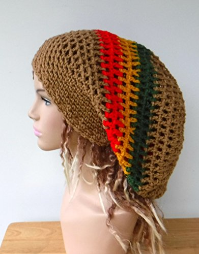 99d48150d Handmade Dread hat, dreadlocks beanie brown or black rasta tam hat, man or  woman Jamaica slouchy hat