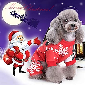 Idepet Christmas Pet Cat Ropa para Perros Ropa, Snowflake Puppy ...
