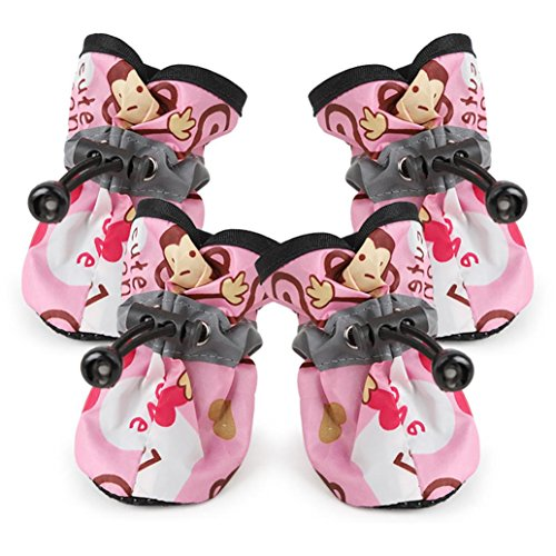 Fly Boots Shoes - Pet Rain Boot, OOEOO Comfortable Anti-Slip Shoes Puppy Dog Cat Waterproof Pup Socks (Pink, XXL)