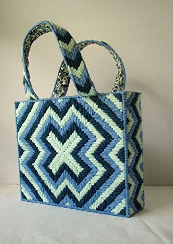 Print Needlepoint - Blue Bargello Bag Pale Mint Navy Geometric Needlepoint Handbag Blueberry Print Fully Lined Tote