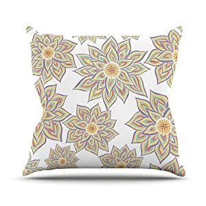 "Kess InHouse Pom Graphic Design ""Floral Dance"" Outdoor Throw Pillow, 20 by 20-Inch"