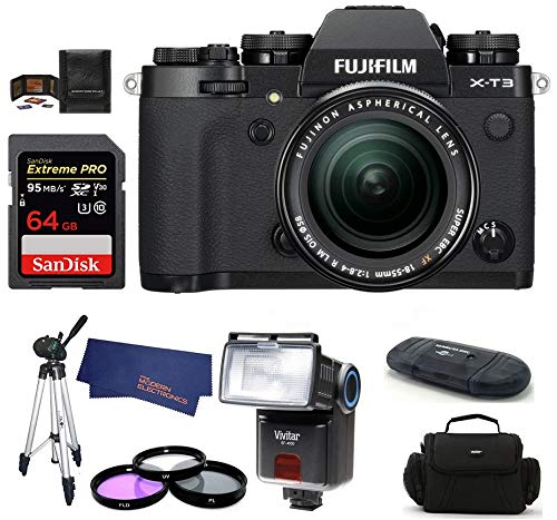 FUJIFILM X-T3 Mirrorless Digital Camera with XF 18-55mm f/2.8-4 R LM OIS Zoom (Black) Bundle, Includes: SanDisk 64GB Extreme PRO SDXC Memory Card, Card Reader, Flash and More.