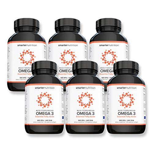 Smarter Omega 3 - Mediterranean Omega 3 Essential Fatty Acids Supplement | Helps Lower LDL Levels and Promotes a Healthy Cardiovascular System | Preserved in Veggie Softgels (288 Count - 144 Servings)