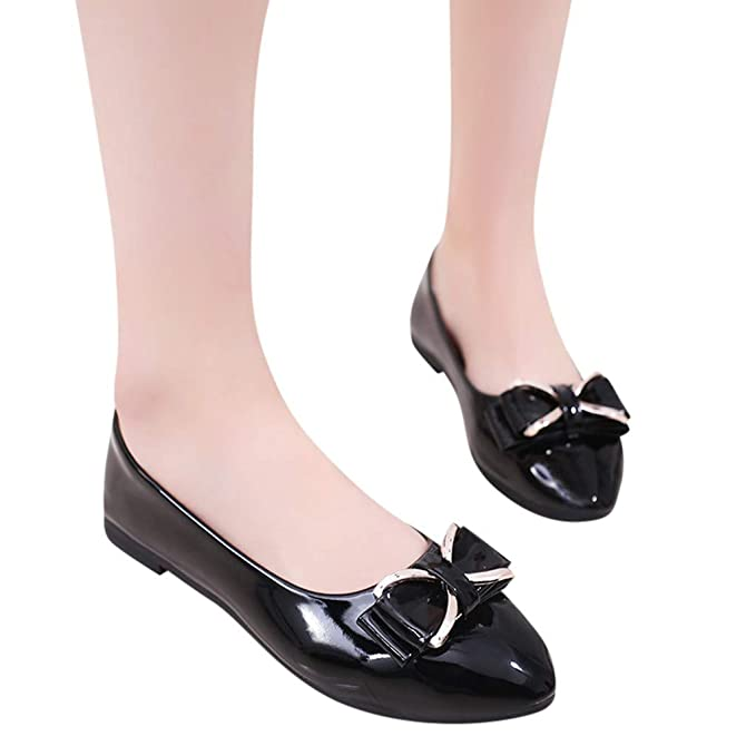 9f0aabda734b8 Sunhusing Ladies Solid Color Pointed Toe Shallow Mouth Flat with ...