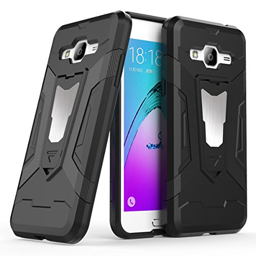 Galaxy J3 Case, Galaxy Express Prime Case, Galaxy Amp Prime Case, Ranyi [3 Piece Full Body Armor] [Built-in Kickstand] [Shock Absorbing] Metal Texture Rugged Rubber 360 Protective Case (black) ()
