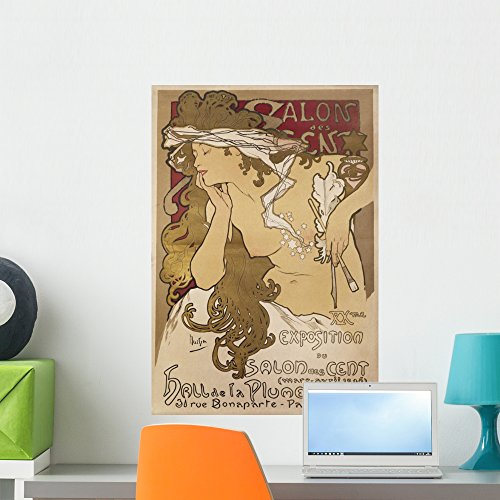 (Wallmonkeys Salon Des Cent Alphonse Mucha Wall Decal Peel and Stick Graphic WM271463 (24 in H x 17 in)