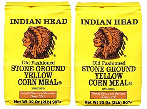 Indian Head Old Fashioned Stone Ground Yellow Corn Meal (2 Pack) 2 Pound Bags - Bag Yellow Corn