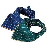 Elisona-2 PCS 2 Colors Large Fashion Pet Dog Cat Bandana Bibs Triangle Head Scarf Accessories Neckerchief Dual-side Use Blue + Green