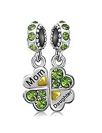 JMQJewelry Clover Mom Mother Love Heart Daughter Dangle Birthstone Charms For Bracelets