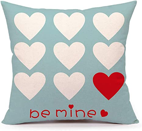 4th Emotion Valentine S Day Throw Pillow Case Cushion Cover Love Hearts Be Mine Home Decor 18 X 18 Inch Cotton Linen For Sofa Couch Home Kitchen