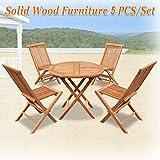King Teak 4 Piece Golden Teak Wood Folding Chair & 1 Piece Round Table Outdoor Furniture Set Garden Yard Seat Chair Dining Set