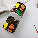 Comfspo Cartoon Animals Printed Canvas Pencil Wrap, Pencils Roll Case Pouch Hold For 36 to 72 Colored Pencils