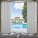 TWOPAGES Outdoor Waterproof Curtain White Grommet Drape, 84'' W x 96'' L For Front Porch Pergola Cabana Covered Patio Gazebo Dock Beach Home (1 panel)