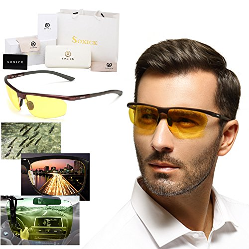 a274c7fa97 Soxick Polarized Professional HD Night Vision Glasses for Driving - Sport  Bike Protection Sunglasses - Flexible Frame and FREE Car Clip Holder -  Designed in ...