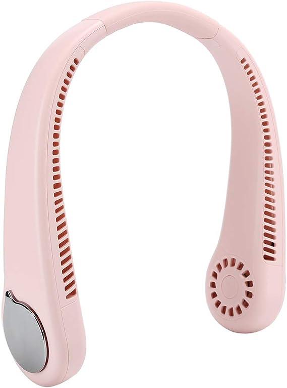 ファン、充電式首吊りファンリーフレス1800 mAhトラベル用(Pink)