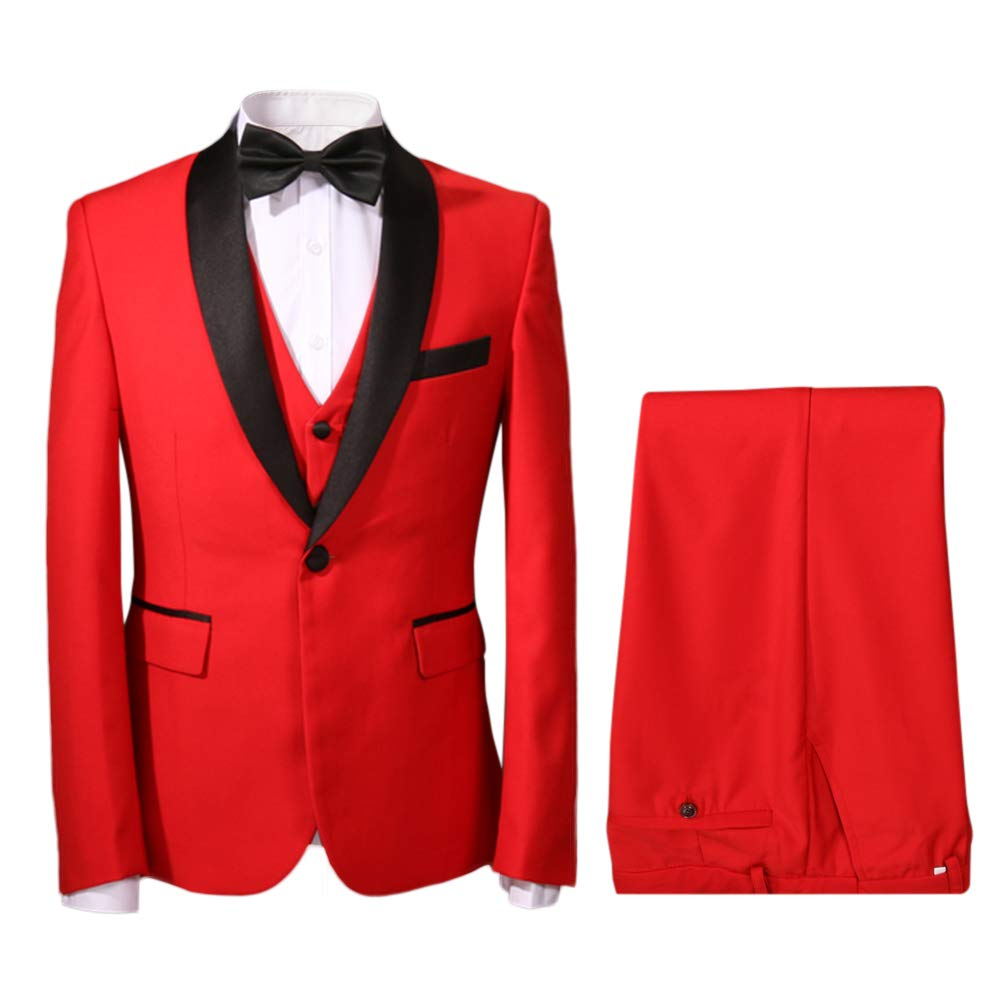 New Vintage Tuxedos, Tailcoats, Morning Suits, Dinner Jackets YFFUSHI Mens One Button Shawl Collar 3 Piece Suit Jacket Vest & Trousers $88.99 AT vintagedancer.com
