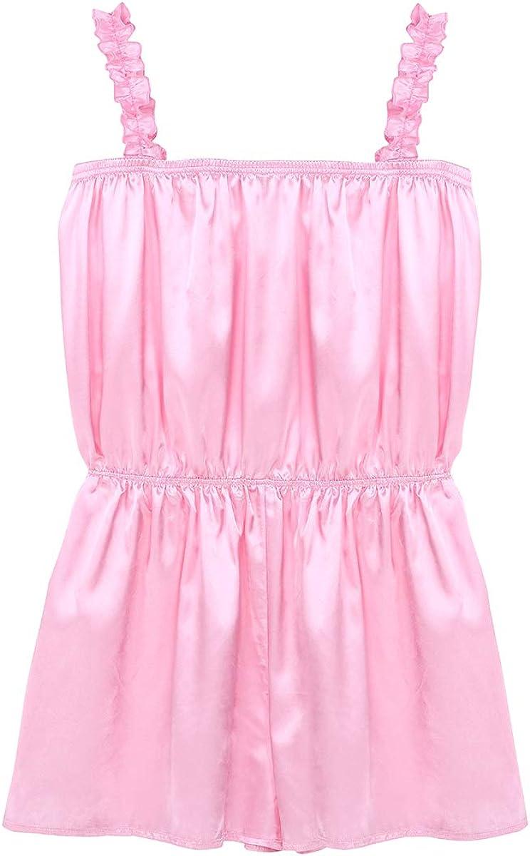 TiaoBug Mens Shiny Frilly Satin Dress Pants Crossdress Rompers Teddy Nightwear Pajamas Sissy Lingerie