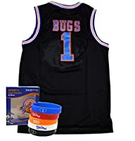 Space Jam Jersey #1 Bugs Bunny Tune Squad Basketball Jerseys Movie Inspired - Looney Tunes Design Include Swbfan Box Of 5 Free Themed Wristbands (Black, XLarge + FREE SWBFAN)