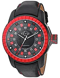 GV2 by Gevril Men's 'Lucky 7' Automatic Stainless Steel and Leather Casual Watch, Color:Black (Model: 9306)