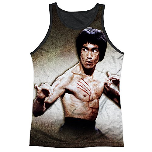 Bruce Lee Martial Arts Icon Attack Stance Adult Black Back Tank Top Shirt ()