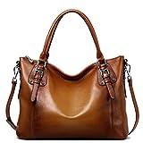 S-ZONE Women's Vintage Genuine Leather Tote Large Shoulder Bag with Outside Pocket (Large, Dark Brown)