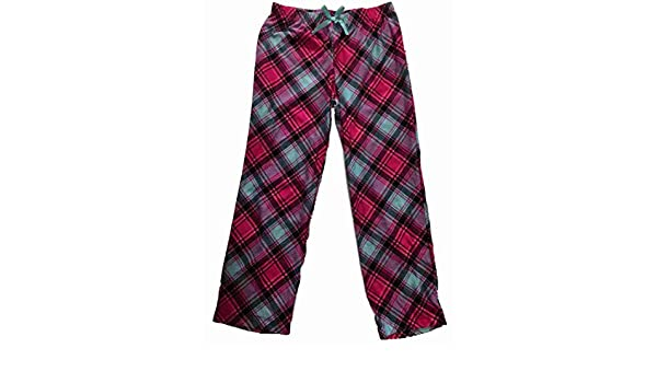 Girls Hot Pink Plaid Fleece Sleep Pant Checkered Tartan Print Pajama Bottoms