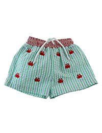 Boys Blue Green Striped Seersucker Swimsuit Trunks Red Crabs Anavini Bathing Suit