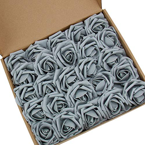 N&T NIETING Artificial Flowers Roses, 25pcs Real Touch Artificial Foam Roses Decoration DIY for Wedding Bridesmaid Bridal Bouquets Centerpieces, Party Decoration, Home Display(Gray) -