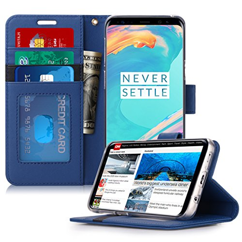 (FYY Luxury PU Leather Wallet Case for Samsung Galaxy S9 Plus, [Kickstand Feature] Flip Folio Case Cover with [Card Slots] and [Note Pockets] for Samsung Galaxy S9 Plus Navy)