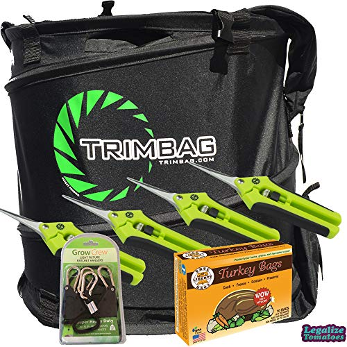 Trimbag Premium Complete Dry Trimming Kit Bundle with 2 Pairs Common Culture Trimming Scissors, 1 Pair of Grow Crew Ratchet Hangers, 10 Pack of Turkey Bags and Accessories (7 Items)