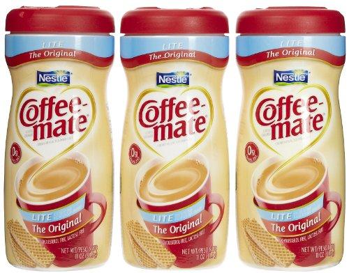 Mate Coffee Fat Coffee Free - Coffee-mate Lite Powdered Creamer Canisters-Original, 11 oz, 3 pk