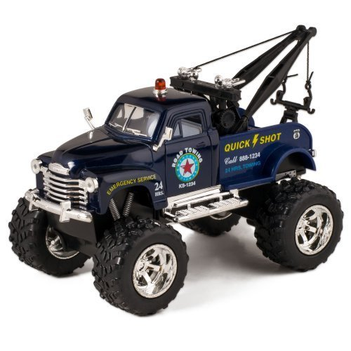Blue 1953 Chevy Off-Road Wrecker Die Cast Tow Truck Toy with Monster Wheels by Kinsmart