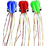 Hengda kite Pack 3 Colors Beautiful Large Easy Flyer Kite for Kids-software octopus-It's BIG! 31 Inches Wide with Long Tail 157 Inches Long-Perfect for Beach or Park by