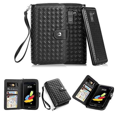 TabPow LG G Stylo 2 (LS775) Case, Weave Zipper Cash Slot, Card Slots, Button Snap, Flip PU Leather Wallet Case Cover With Detachable Magnetic Hard Case For LG G Stylo 2 (LS775) Case- Weave Black