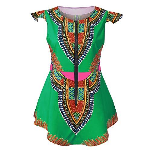 Keliay Womens Tops for Summer,Women Summer Zipper African Printing Sleeveless Tunic T-Shirt Tops Blouse -